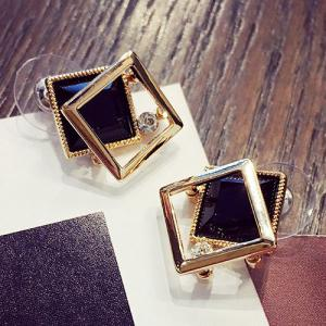 Square Shape Faux Gem Stud Earrings - Golden - 8