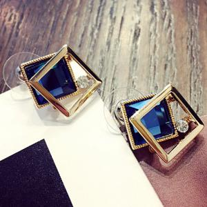 Square Shape Faux Gem Stud Earrings