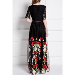 Embroidery Lace Insert Maxi Tulle Dress -