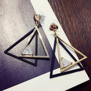 Cut Out Overlap Triangle Rhinestone Earrings