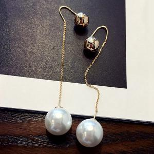 Pair of Chic Style Double-end Ball and Faux Pearl Earrings For Women
