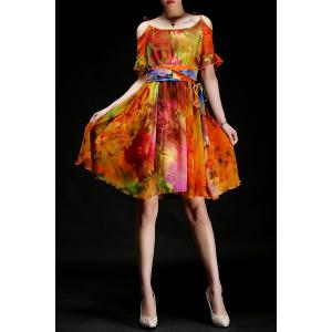 Flouncy Colored Cut-Out Chiffon Dress -