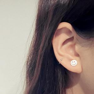 Cut Out Happy Face Silver Plated Stud Earrings -