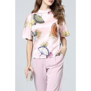 Chinese Fan Print Top and Pants -