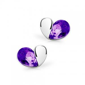 Faux Crystal Heart Shape Stud Earrings