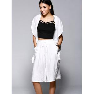 Chic Irregular Chiffon Hem Longline Vest and Drawstring Palazzo Shorts Women's Twinset -