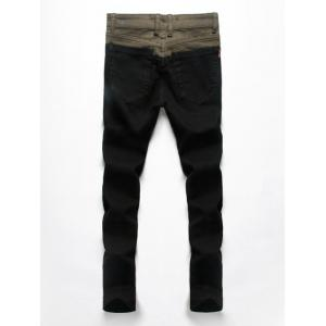 Splice Design Zip Fly Denim Pants For Men -