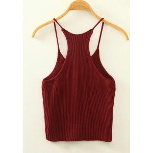 Sweet Spaghetti Strap Candy Color Knitted Tank Top For Women - WINE RED ONE SIZE(FIT SIZE XS TO M)