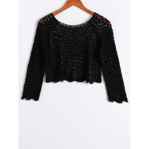 Stylish Scoop Neck Long Sleeves Openwork Crop Top For Women -