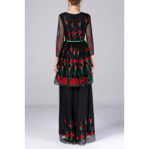 Multi Way Flower Embroidery Dress and Skirt Twinset -