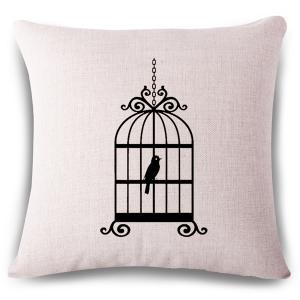 Simple Style Birdcage Pattern Linen Square Shape Pillowcase - Off-white