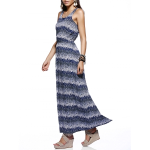 Chic Women's Scoop Neck Tie Dye Print Dress