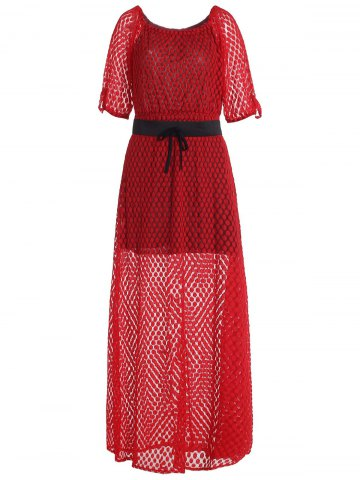 Outfit Charming Slash Neck Printed 3/4 Sleeve Dress For Women RED XL