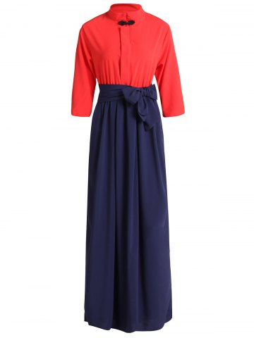 Latest Sweet Stand Collar Bowknot 3/4 Sleeve Dress For Women