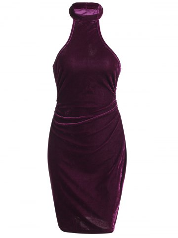 Discount Sleeveless Velvet Club Bodycon Tight Dress
