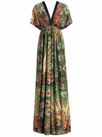 Latest Plus Size Peacock Print Maxi Tropical Dress