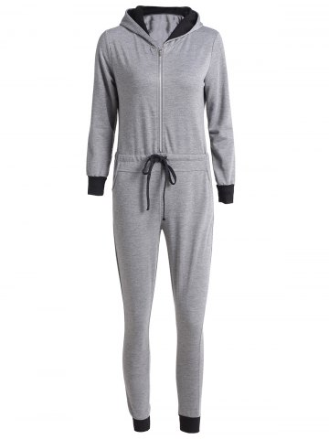 Latest Casual Hooded Self-Tie Long Sleeve Jumpsuit For Women