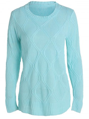 Affordable Simple Round Collar Long Sleeve Pure Color Women's Sweater BLUE S