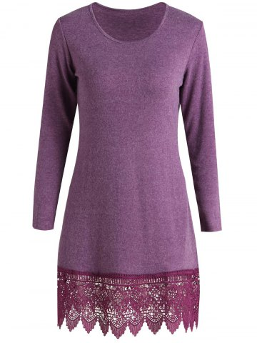 Outfit Stylish Scoop Neck Long Sleeve Solid Color Laciness Women's Dress PURPLISH RED S