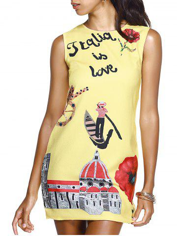 Outfit Sweet Jewel Neck Floral Print Yellow Mini Dress For Women