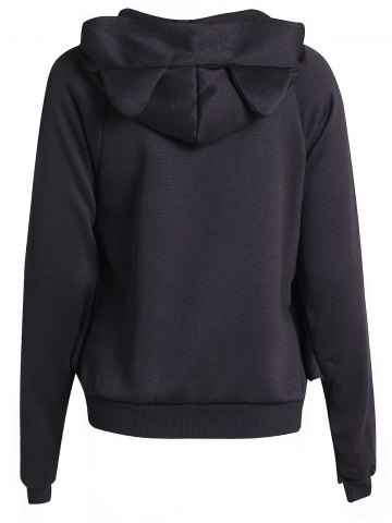 Latest Chic Hooded Long Batwing Sleeve Pure Color Women's Jacket - L BLACK Mobile