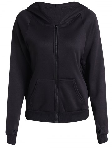 Affordable Chic Hooded Long Batwing Sleeve Pure Color Women's Jacket - L BLACK Mobile