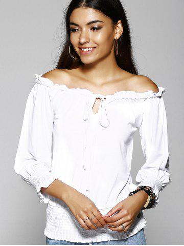 Outfit Off The Shoulder Pure Color T-Shirt For Women