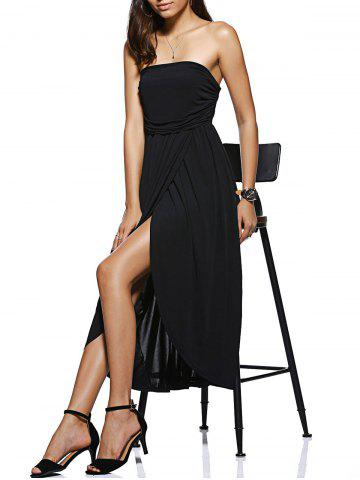 Fashion Trendy Strapless High Low Black Dress