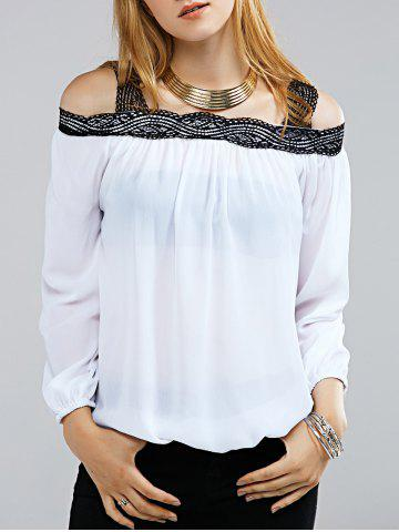 Chic Stylish Off The Shoulder Lace Decorated Long Sleeve Blouse For Women