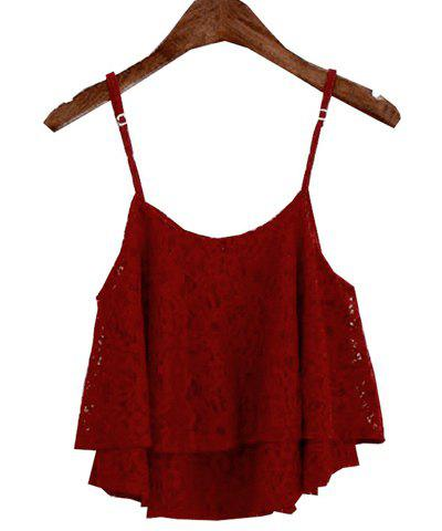 Affordable Stylish Spaghetti Strap Solid Color Lace Tank Top For Women WINE RED ONE SIZE(FIT SIZE XS TO M)