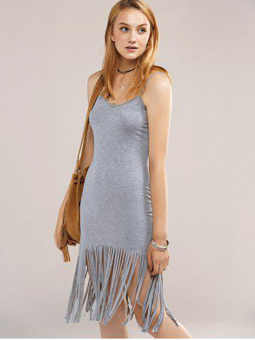 Cheap Cami Fringed Bodycon Flapper Dress - L GRAY Mobile