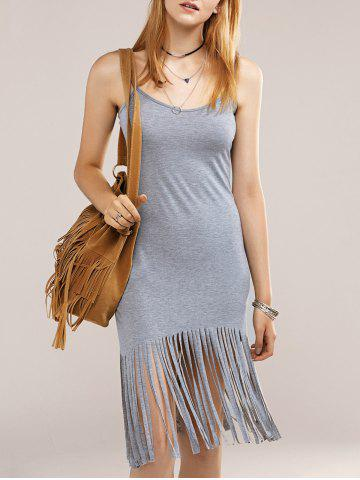 Fancy Cami Fringed Bodycon Flapper Dress - L GRAY Mobile