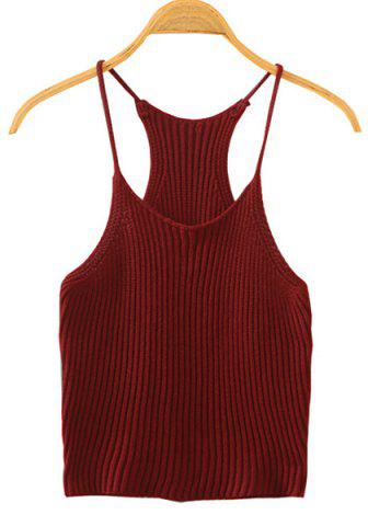 Affordable Sweet Spaghetti Strap Candy Color Knitted Tank Top For Women