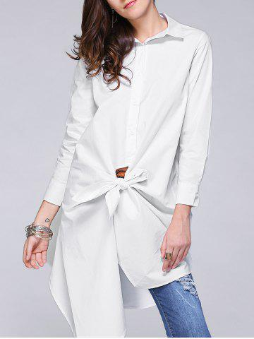 Online Stylish Irregular Solid Color Loose Shirt For Women WHITE XL