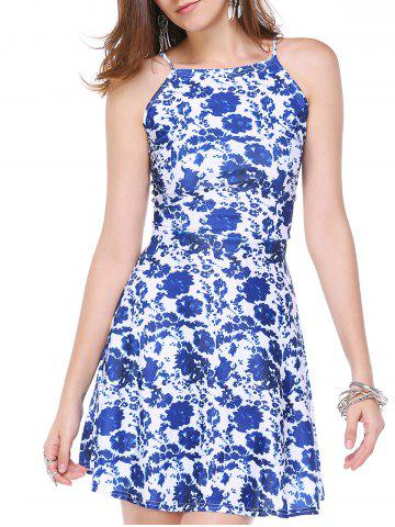 Latest Stylish Floral Print Back Zipper Dress For Women