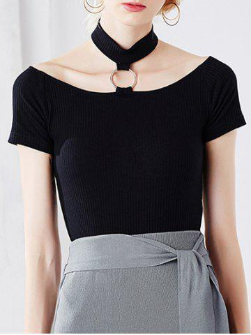 Best Stylish Halter Metallic Ribbed T-Shirt For Women