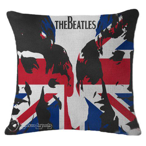 Novelty The British Flag Letter Design Linen Pillowcase - Red With Black