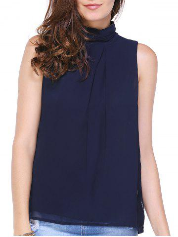 Discount Stylish High Neck Open Back Pure Color Blouse For Women
