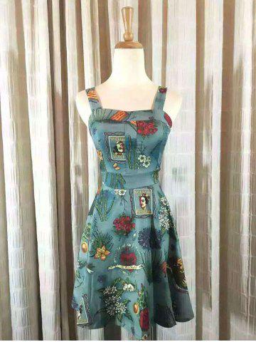 Cheap Vintage Square Neck Tie Waist Floral Dress For Women