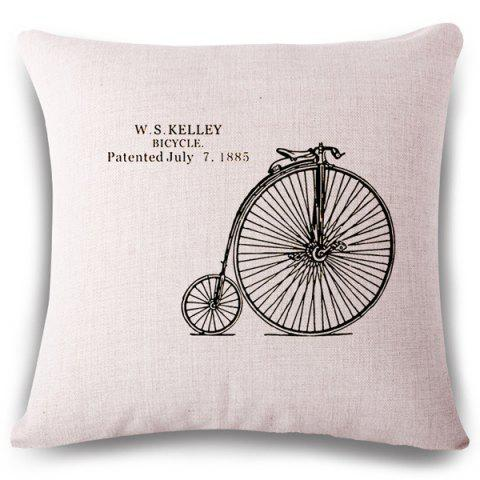 Latest Simple Style Bicycle Wheel Letter Pattern Square Shape Pillowcase