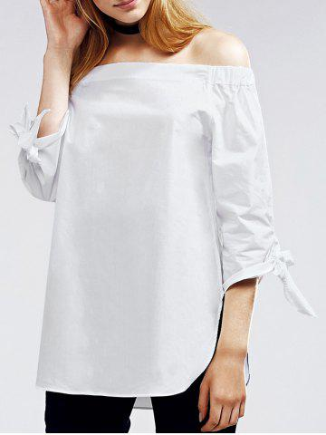 Shops Alluring Off The Shoulder Self Tie White Blouse