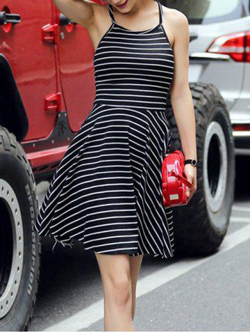 Fancy Striped Backless Criss-Cross Dress