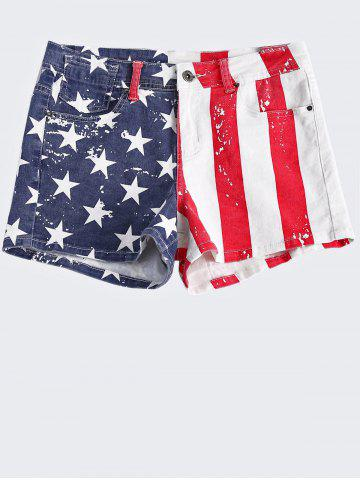 New Fashionable Washed American Flag Printing Jean Shorts