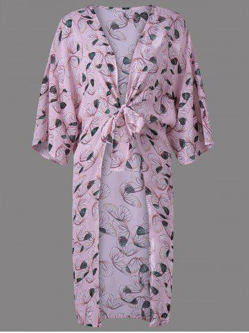Buy Chic Collarless Print Thin Blouse For Women SHALLOW PINK L