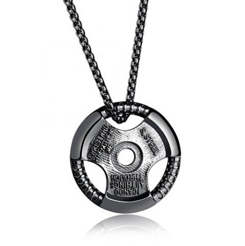 Discount Vintage Alloy Round Pendant Necklace - BLACK  Mobile