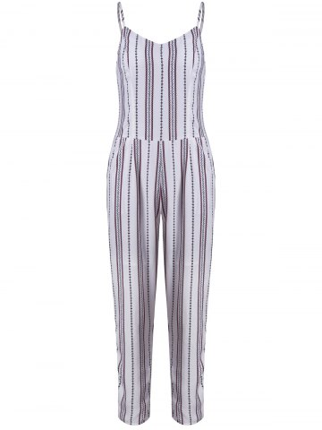 Trendy Simple Style Women's Striped Sleeveless Jumpsuit WHITE XL
