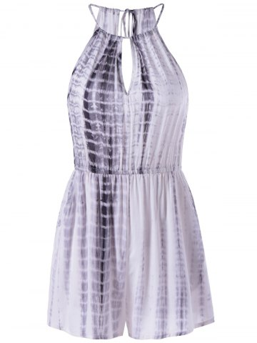 Affordable Cut Out Sleeveless Tie-Dye High Neck Romper GREY AND WHITE L