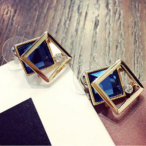 Square Shape Faux Gem Stud Earrings - Sapphire Blue