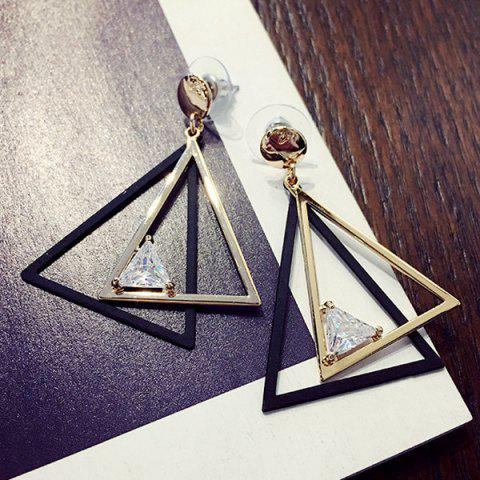 Shops Cut Out Overlap Triangle Rhinestone Earrings GOLDEN