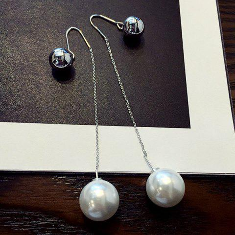 New Pair of Chic Style Double-end Ball and Faux Pearl Earrings For Women SILVER